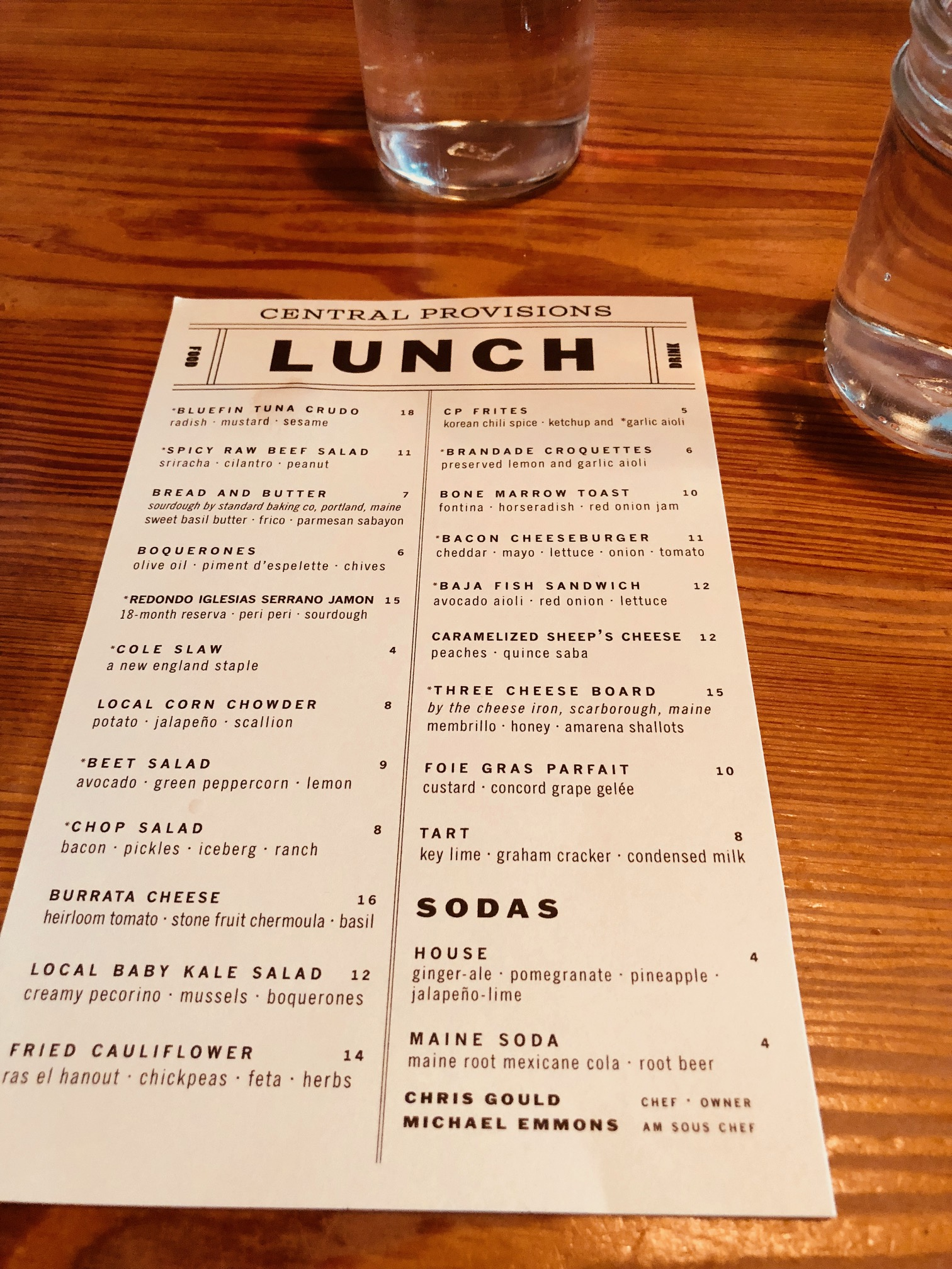 Central Provisions menu