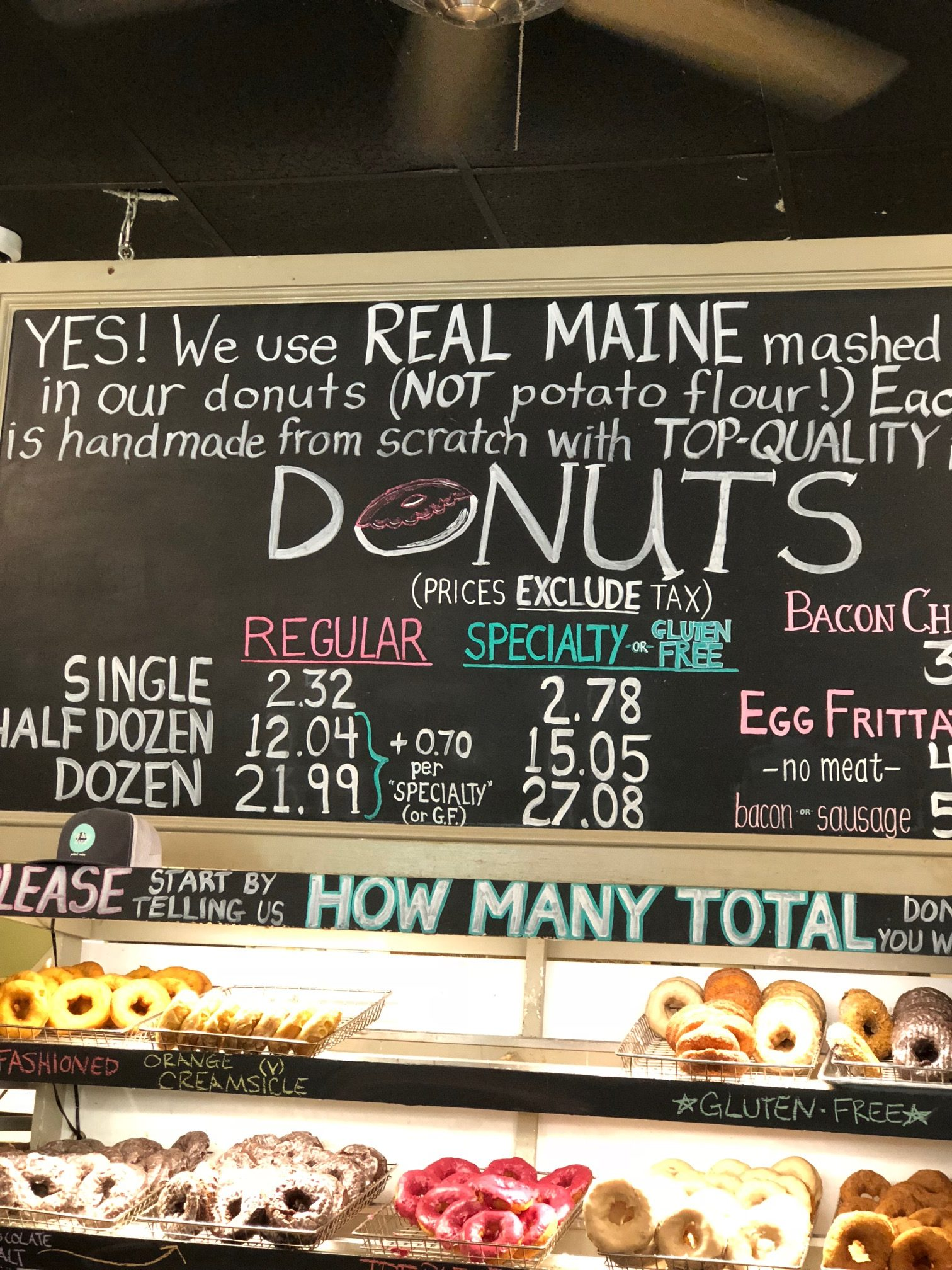 Menu at the Holy Donut